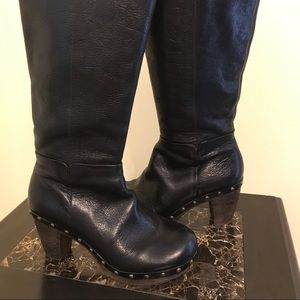 GIANNI BINI Black Leather Studded Boots